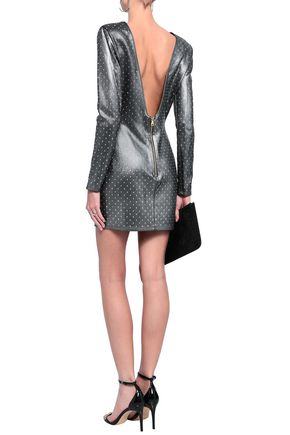 BALMAIN Embellished coated jersey mini dress