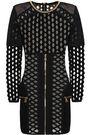 BALMAIN Chain-trimmed open-knit mini dress