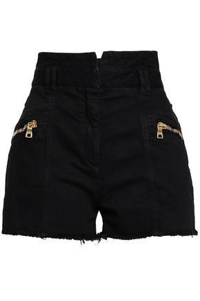 BALMAIN Zip-detailed frayed denim shorts