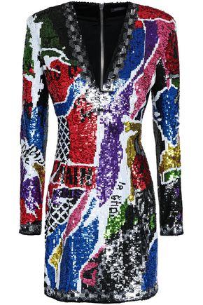 BALMAIN Sequined woven mini dress