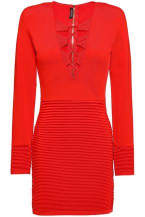 d77c390f14d1 BALMAIN Lace-up stretch-knit mini dress ...