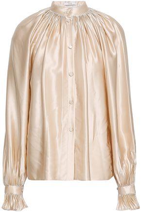 CO Gathered silk-satin shirt