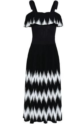 MAJE Cold-shoulder intarsia-knit midi dress
