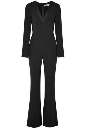 DIANE VON FURSTENBERG Satin-trimmed crepe jumpsuit