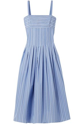 ROSETTA GETTY Pleated striped poplin dress