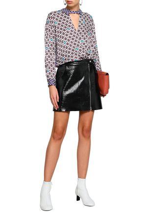 MAJE Wrap-effect cutout printed satin top