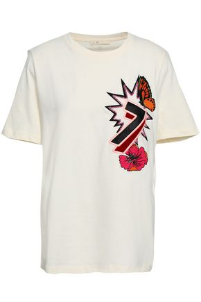 MAJE Embellished cotton-jersey T-shirt