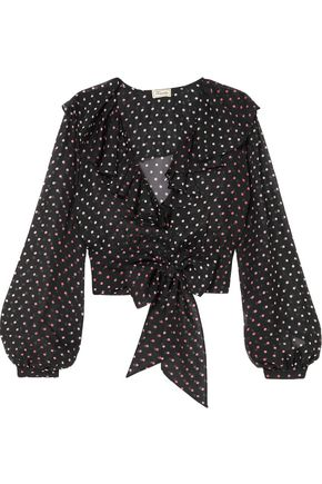 TEMPERLEY LONDON Ruffled belted polka-dot silk-chiffon blouse
