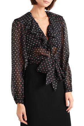 TEMPERLEY LONDON Tie-front ruffled polka-dot silk-chiffon blouse