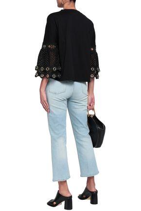 MAJE Eyelet-embellished macramé-paneled cotton-jersey top