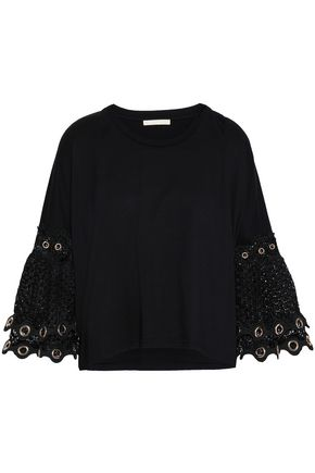 MAJE Eyelet-embellished macramé-paneled cotton-jersey top