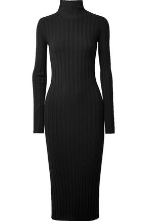 THEORY Ribbed-knit turtleneck midi dress