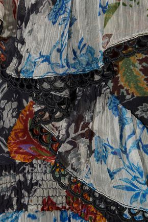 LOVE SAM Cold-shoulder ruffled floral-print georgette mini dress