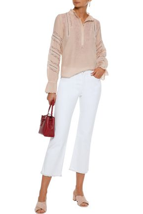LOVE SAM Lace-trimmed broderie anglaise cotton-blend blouse
