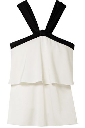RACHEL ZOE Haley layered satin-crepe top