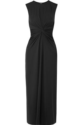 THEORY Twist-front stretch-jersey midi dress