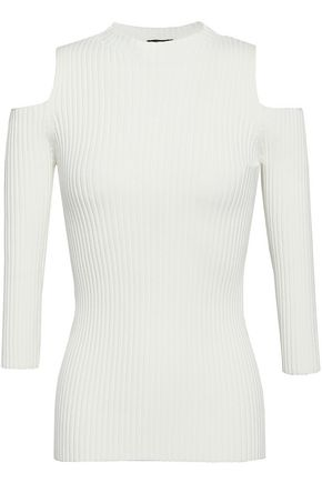MAJE Cold-shoulder ribbed-knit top