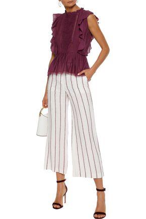 LOVE SAM Broderie anglaise cotton-blend poplin blouse