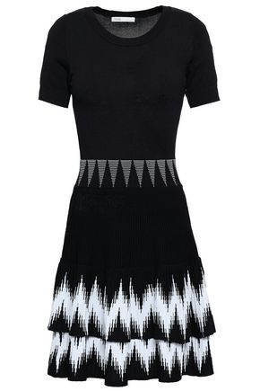 MAJE Tiered intarsia-knit mini dress
