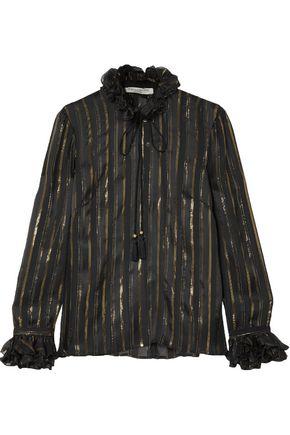 PHILOSOPHY di LORENZO SERAFINI Metallic striped silk-blend jacquard blouse