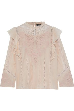 LOVE SAM Lace-trimmed ruffled broderie anglaise cotton-blend blouse