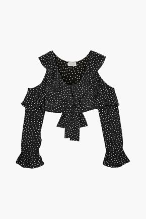 RAQUEL DINIZ Cropped cold-shoulder ruffled polka-dot silk top