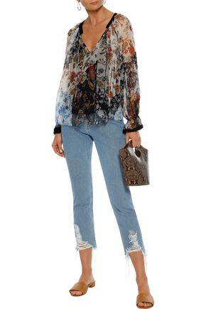 LOVE SAM Crochet-trimmed patchwork-effect floral-print georgette blouse