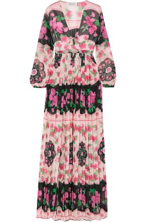 RAQUEL DINIZ Pleated printed silk-chiffon maxi dress