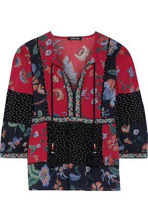 LOVE SAM Embroidered printed crepe blouse