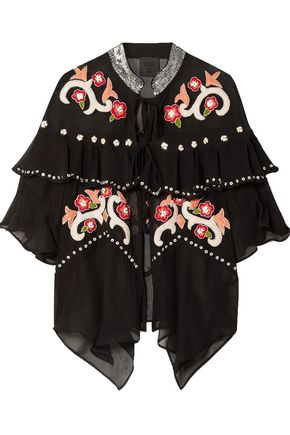 ANNA SUI Poppies ruffled embroidered silk-georgette jacket