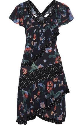 LOVE SAM Cutout ruffled floral-print crepe de chine dress