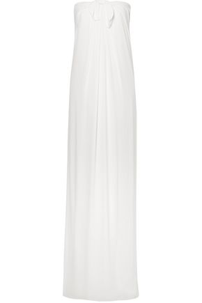 Strapless Knotted Draped Crepe Gown by Halston Heritage