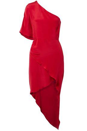 HANEY One-shoulder silk-crepe mini dress