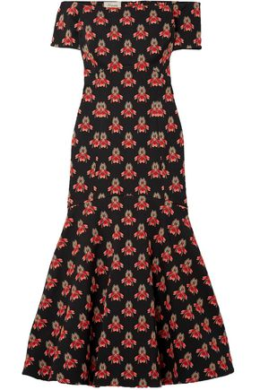 TEMPERLEY LONDON Off-the-shoulder printed jacquard maxi dress