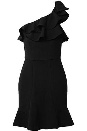 REBECCA VALLANCE St Barts one-shoulder ruffled stretch-crepe mini dress