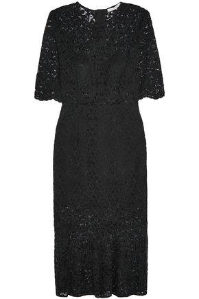 VERONICA BEARD Linden fluted corded lace midi dress