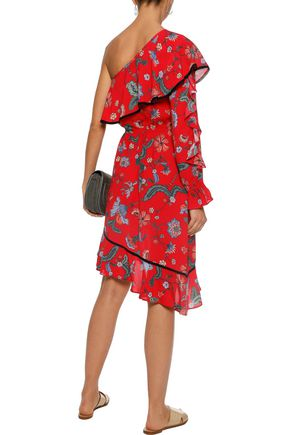 LOVE SAM One-shoulder asymmetric floral-print crepe dress