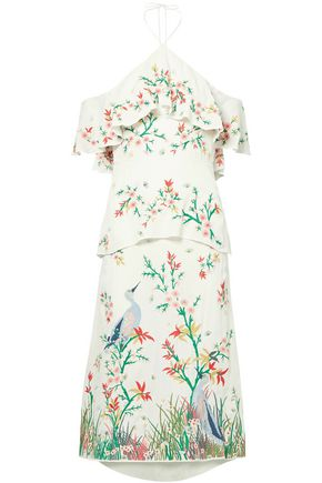 ALICE + OLIVIA Golda off-the-shoulder embroidered georgette halterneck midi dress
