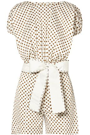 SILVIA TCHERASSI Belted polka-dot stretch-cotton playsuit