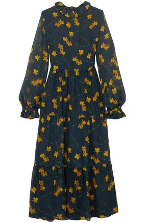 BORGO DE NOR Floral-print silk crepe de chine midi dress
