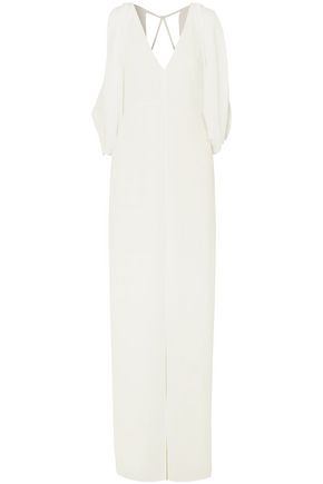 HALSTON HERITAGE Draped cold-shoulder georgette gown