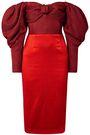 HELLESSY Off-the-shoulder jacquard-paneled linen and silk-blend dress