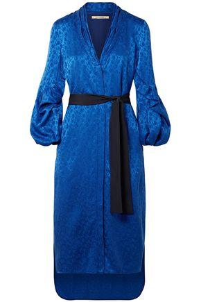 HELLESSY Belted satin-jacquard dress