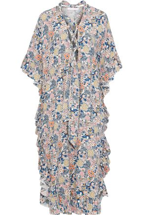SEE BY CHLOÉ Pussy-bow printed cotton and linen-blend midi dress