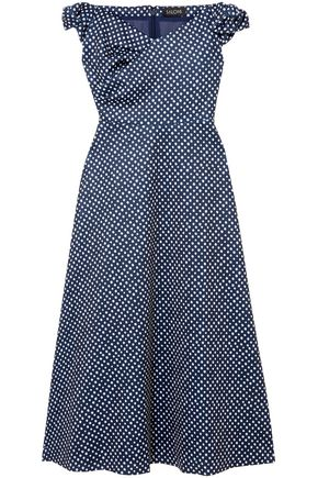 SALONI Off-the-shoulder polka-dot neoprene midi dress