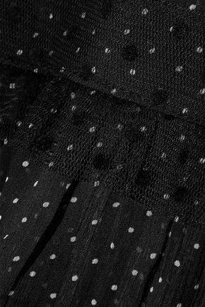 W118 by WALTER BAKER Abigail Swiss-dot tulle-trimmed polka-dot georgette blouse