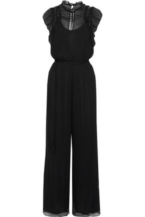 LOVE SAM Belted ruffle-trimmed georgette jumpsuit