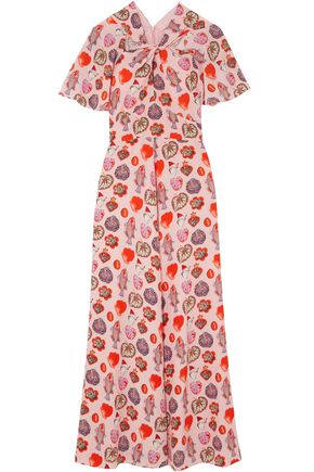 TEMPERLEY LONDON Twisted printed crepe de chine maxi dress