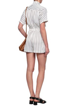 MAJE Bow-detailed striped crepe playsuit