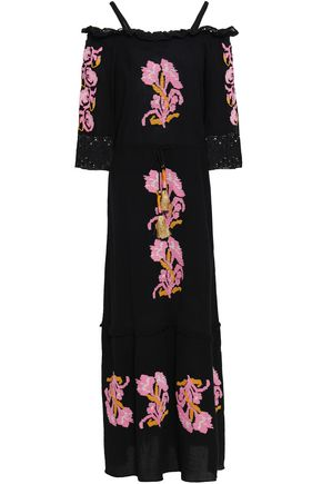 FIGUE Noelle off-the-shoulder embroidered cotton-gauze maxi dress